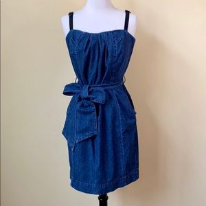DKNY Denim Bow Tie Waist Dress